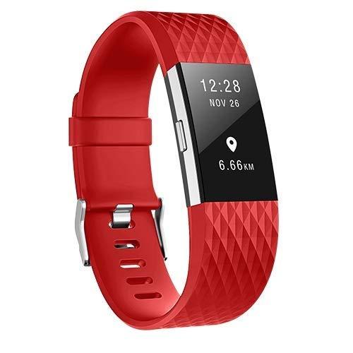 KAEHA FBACHA-16 - Cinturino per Fitbit Charge 2, Motivo diamantato Regolabile, Cinturino di Ricambio, Colore: Rosso, Unisex