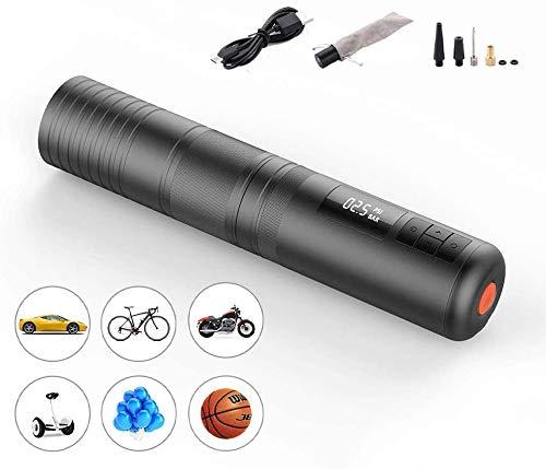 RJJBYY bewegliche Auto-Luftpumpe, bis zu 150PSI 2000Mah LCD-Anzeige Fahrrad-Luftkompressor Inflator Pumpe USB-Zigarettenanzünder-Lade Elektro-Mini-Gummireifen