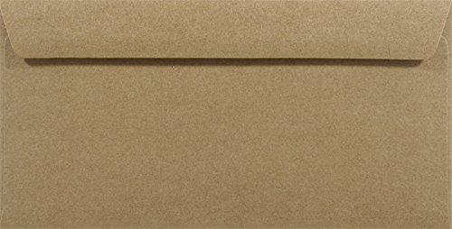 25 Sand-Braun DIN lang Kraftpapier-Umschläge 110x220mm gerade Klappe ohne Fenster recycelte Briefumschläge Naturpapier Vintage Briefkuverts aus recyceltem Papier Recyclingpapier Briefhüllen DL