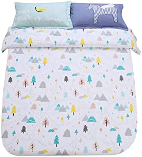 Sandyshow Forest Tree Cotton 3PC Full/Queen Bedding Sets White Christmas Duvet Cover Sets with 4 Corner Ties for Kids, Boys and Girls (Full/Queen, Forest)