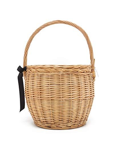 Miuco Womens Wicker Basket Bag Handmade Straw Rattan Bamboo Bag With Lid Handbag Large