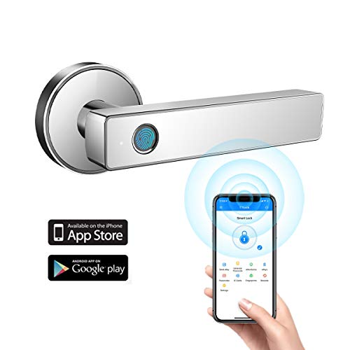 Tiffane Biometric Fingerprint Door Lock WiFi Bluetooth APP Security Simplified Door Lever Smart Door Lock (White)