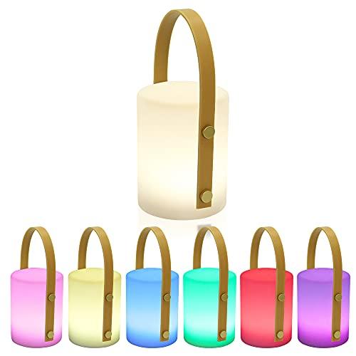 LED Akku Außen Tischleuchte RBG LED mit 8 Farben Farbwechsel Wohnzimmer Tischlampe Küche Deko Laterne LED Outdoor Gartenlampe Terrasse IP45 Spritzwasserschutz, per USB aufladbar A