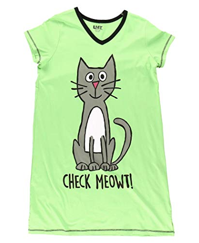 Lazy One V-Neck Nightshirts for Women, Animal Designs, Cat, Feline, Check Me Out (Check Meowt, L/XL)
