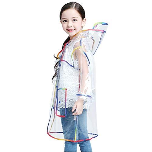 JERFER Kinder Mit Kapuze Mode Transparent Regenbogen Dick Regenmantel