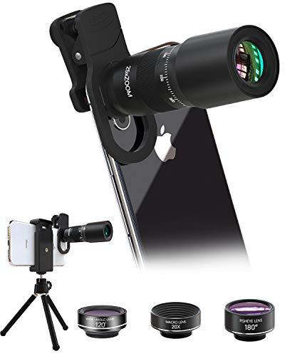 スマートフォンのレンズ 25 x长焦望遠鏡 180°魚眼レンズ 20Xマクロレンズ スマートな望遠レンズ 月、風景、コンサート、運動会、スポーツの試合などを見るのに適しています。日本語マニュアルを含む。携帯用バッグ 三脚 複数の機種に対応するiPhone 11/X/iPhone 8/8 Plus/7/7 Plus/iPad/Android/Samsung 3年保証DV-01