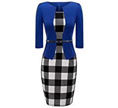 HIKA Womens Long Sleeve Plaid Work Business One-Piece Knee Length Pencil Dress