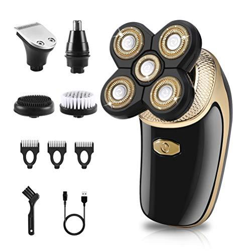 Glatzen Rasierer Herren, 5 in 1 Nasenhaar Trockenrasierer Bartschneider Schnurloser Rotationsrasierer kopfrasierer Schnurloser USB-Akku Elektrorasierer mit Reinigungsbürste