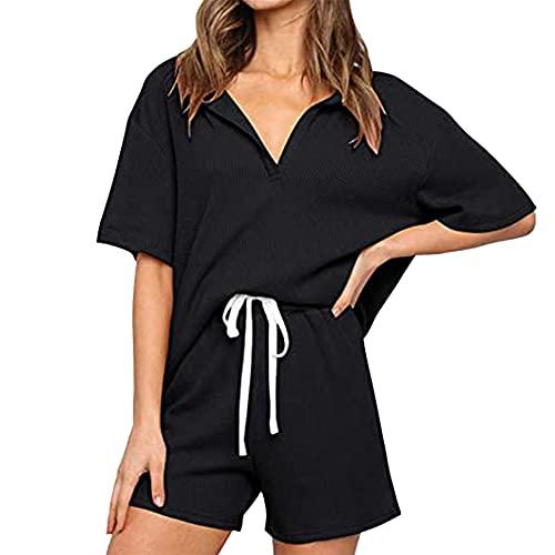 PRJN Pijamas de Verano de Color sólido para Mujer Conjunto de Pijama de Pijama de 2 Piezas Conjunto de Pijama de Manga Corta para Mujer Conjunto de Pijama de Ropa Informal con Cuello en V