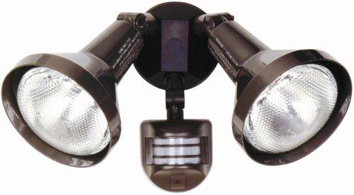 Designers Edge L6004BR L-6004Br Twin Head Motion Activated Flood Light with Bulb Shield, 120 V, 240 W, Par, Incandescent, 240-Watt, Bronze