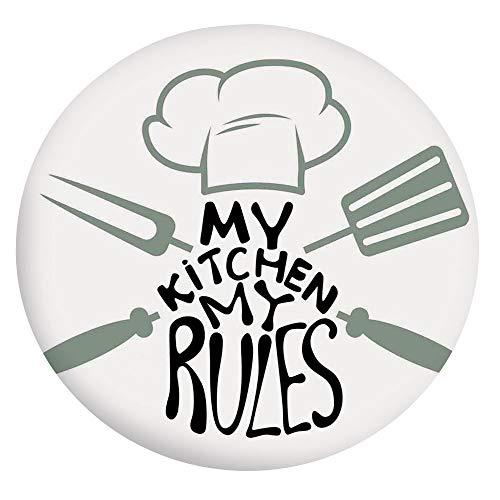 Housse de table en polyester à bords élastiques avec inscription « My Kitchen My Rules » - Décoration de table avec toque de chef et ustensiles d'uniforme - Pour table ronde de 91,4 à 101,6 cm