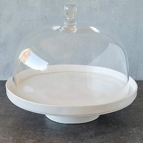 Le Moderne: Présentoir à gâteau ligne Puro en blanc mat avec cloche en verre, Ø 32 cm