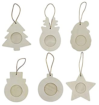 Creative Hobbies 36-Pack Photo Frame Ornaments Holiday Christmas Themed Assortment - Santa Snowman Star and More Ready to Decorate