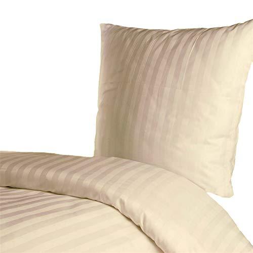 Hans-Textil-Shop Damast Hotelbettwäsche 135x200 80x80 cm Streifen 25 mm (Baumwolle, Gestreift, Bettbezug) (Gelb)