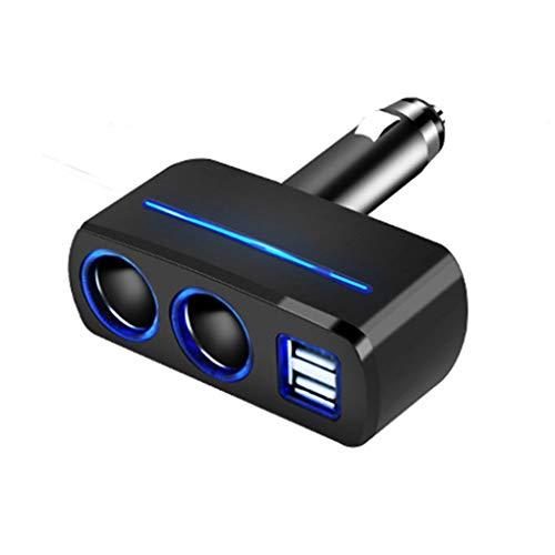Topke 2-Socket de mechero Interruptor Separado Adaptador del Divisor del zócalo con Cargador de Coche LED de la batería con Doble Puerto USB