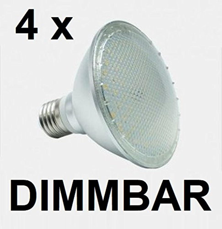 4 x DIMMBARE 12 Watt PAR 30 LED Lampe, Strahler, Fassung E27, warmwei 2700K, 120° Ausstrahlwinkel, 1050 Lumen entspricht ca. 100 Watt Glühlampe. Schutzklasse IP44 für Innen und Auen