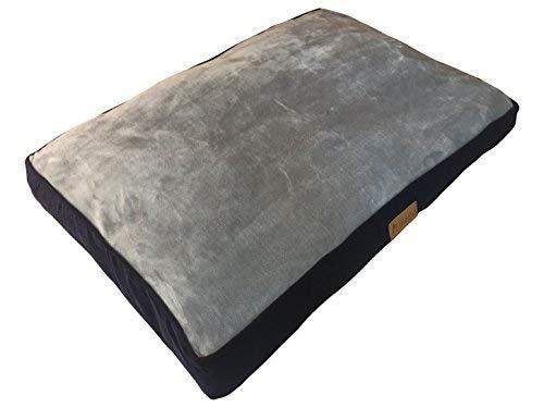 Ellie-Bo Hundebett für Käfig oder Transportbox, 61cm, Größe XL, 100x66cm, Seiten aus blauem Cord, Oberseite aus grauem Kunstfell