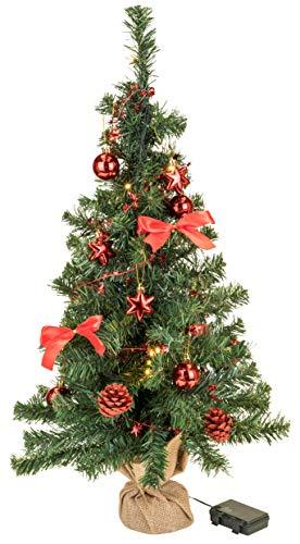Bambelaa! Weihnachtsbaum Künstlich Mit Beleuchtung Geschmückt Tannenbaum Dekoriert Christbaum Beleuchtet LED 75cm Rot