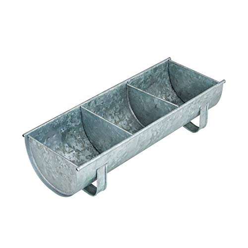Poultry Feeder Tray | Galvanized Steel Poultry Feeder Made of Durable Metal Chicken Feeder Tray for Poultry | Chicken Feeder Trough | Bird Food Dispenser Feeder | Raw Tin Chicken Trough Steel Feeder
