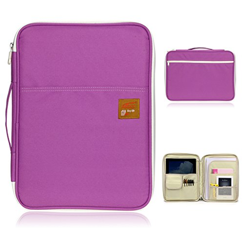 BTSKY Multi-functional A4 Document Bags Portfolio Organizer--Waterproof Travel Pouch Zippered Case for Pads, Notebooks, Pens, Documents (Purple)