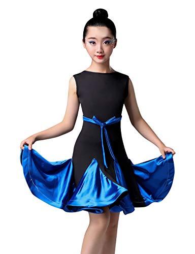 Happy Cherry Children Latin Ballroom Dance Dress, Girls High Elastics Performance Competition Costumes Irregular Hem Skirts 13-15Y Blue