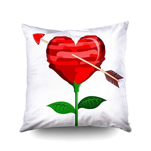 WH-CLA Cushion Cover Flor En Forma De Corazón A Cupido Flecha Día Ilustración Diseño Fundas De Almohada Cremallera Regalo De Cumpleaños Cuadrado Colorido 45X45Cm Impresión A Doble Cara S