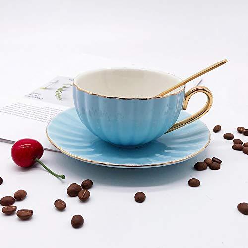 Nordic ins wind creativo taza de leche de calabaza con mango dorado platillo de cerámica con cuchara taza de té de la tarde taza de café 200-300ML B
