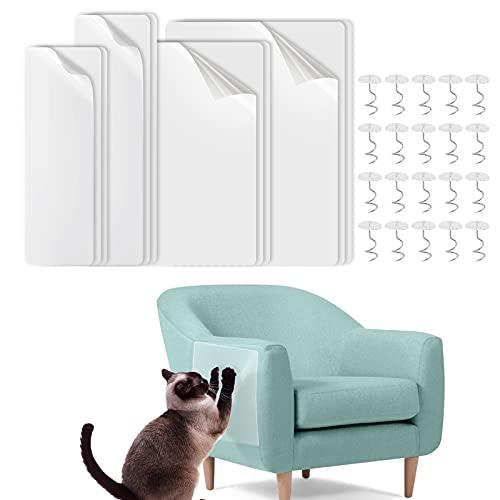 JJoexyfit 12 Stück Katzen-Möbel-Couch-Schutz, selbstklebend, Kratzschutz mit 30 Spiralnägeln zum Schutz von Polstermöbeln