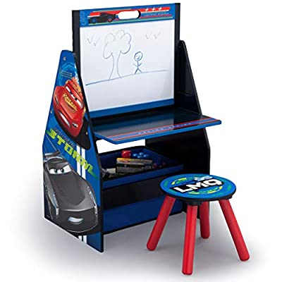 Delta Children Kids Easel and Play Station – Ideal for Arts & Crafts, Drawing, Homeschooling and More, Disney/Pixar Cars