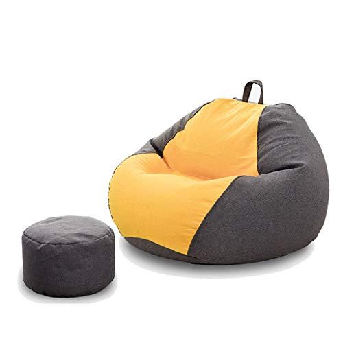 Gran Suave Frijol Silla del Bolso Habitación Sala Sofá Inflable Bean Bag Felpa Superficie de Tumbado Ocio Sofá (Color : Black+Yellow, Size : 90 * 90 * 100cm)