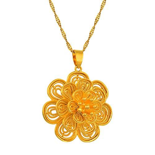 Nobrand Blume Anhänger Halsketten für Frauen Gold Farbe Pflanze Schmuck Mode Geschenke