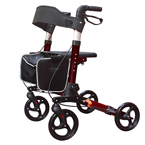 KarePro Lightweight Compact Designed Folding Rollator Walker with 8 inches Wheels Wide Seat Thick Backrest and Adjustable Handle Height Red