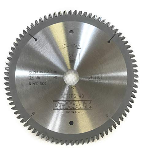 DeWalt DT1103-QZ - Hoja de sierra (diámetro 210 x 2,6 x 25 mm, 80 HM, NEG5°, ATB/DL