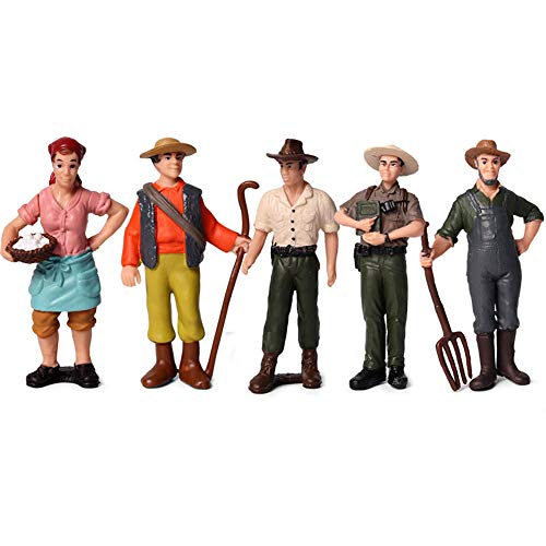 KEYUM 5 PCS Little Farmer People Figures, Realistic Hand Painted Farmer People Figurines Plastic Model People Toys Playset for Kids Toldders