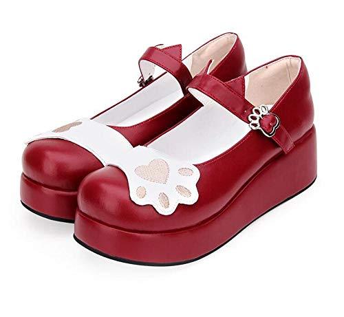 LIGEIAOGIAO Chicas Lolita Cosplay Zapatos de Mujer Tacones Altos 5cm-Vino Tinto_14