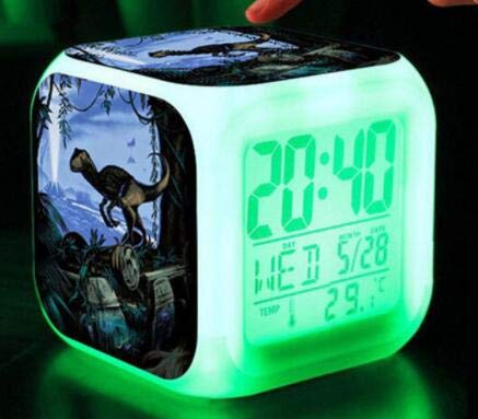 yuandp Welt LED digitaler Wecker Kinderspielzeug Wecker Schlafzimmer 7 Farbblitz reloj leuchtende Dinosaurier Uhr