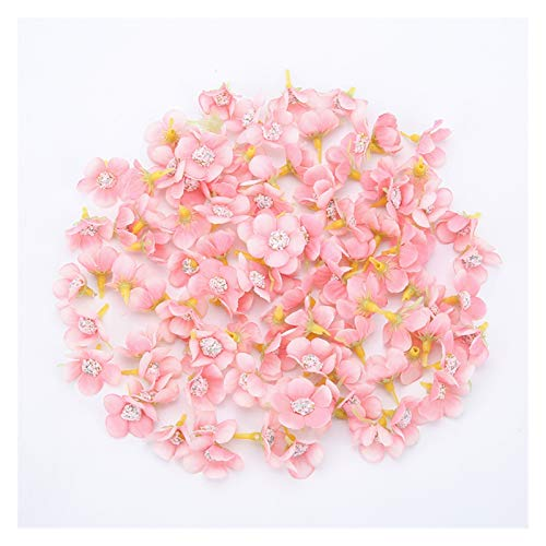 KEHUITONG PSWK 50pcs 2cm Daisy Flower Head Mini Silk Artificial Flowers For Home Wedding Decoration DIY Garland Headdress Fake Flowers Decor (Color : Pink 2)