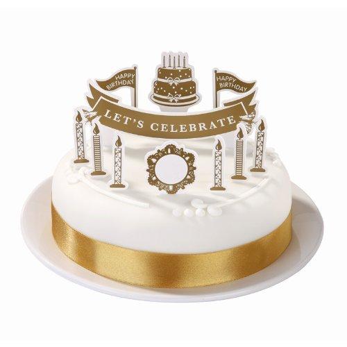 Party Porcelain Talking Tables Gold Décoration pour gâteau pour une décoration de General, Multicolore