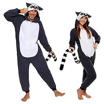 Silver Lilly Slim Fit Animal Pajamas - Adult One Piece Cosplay Lemur Costume  Medium  Grey/White