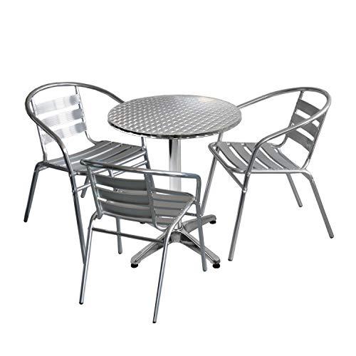 Wohaga 4tlg. Bistromöbel-Set Bistrotisch Ø60cm einklappbar mit Niveauausgleich + 3X Bistrostuhl stapelbar Aluminium Silber - Bistromöbel Balkonmöbel Gartenmöbel
