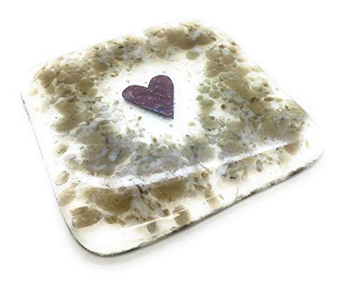 Untersetzer in Herzform, handgefertigt in Großbritannien, Fusing-Glaskunst, Geschenkpapier, Geschenkverpackung, tolles Geschenk für Lehrer
