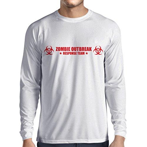 lepni.me Camiseta de Manga Larga para Hombre Logotipo del Equipo de Respuesta a Brotes de Zombis, Escuadrón de Defensa (XS Blanco Rojo)