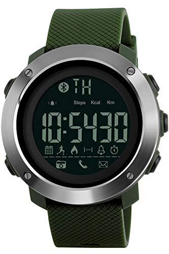Smartwatch Sportuhr Kalorienzähler Schrittzähler Bluetooth Fitnessuhren Militär Digital Armbanduhr Taktisch für Männer und Frauen