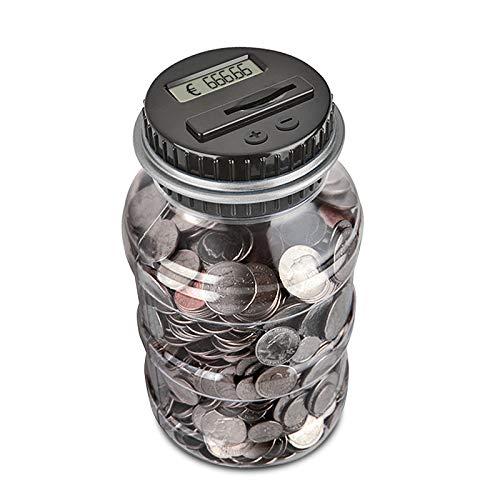 Nullnet Contador Digital de Hucha per EUR, Automático Moneda Contando Caja de Dinero, Banco de Dinero Seguro Moneda de Ahorro de Contenedores de Pote para Niños y Adultos (1.8L)