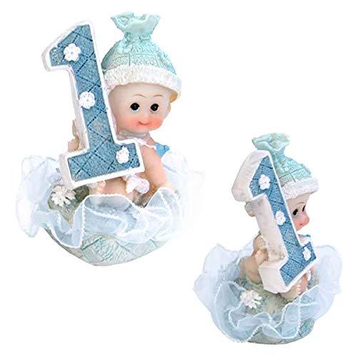 Baby- Figur zum 1. Geburtstag, Tortenfigur Kuchen Topper, Tischdekoration, 7 cm (Junge - blau)