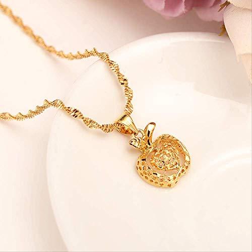 xtszlfj Collar de Oro con applePendant Mujeres/Hombres Joyería de los Amantes Regalo de San Valentín Cadena de suéter Romanti Accesorios de Lujo dijes Bijoux