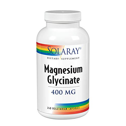 Solaray Magnesium Glycinate 400 mg | Healthy Relaxation, Bone & Cardiovascular Support (240 CT, 60 Servings)
