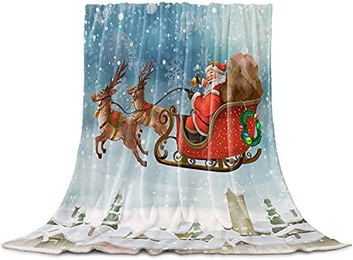 Santa Trineo Elk Aldea de la Nieve de la Ciudad de la Navidad Tirar de la Manta, de Franela Manta de Lana, Acogedor Aproximada Caliente Lindo Manta Liviana para Adultos Bebé de la Microfi,40'x50'