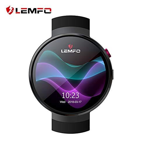 LEMFO LEM7 - Android 7.0 4G LTE Smartwatch, Reloj teléfono cámara de 2MP, MT6737 16GB ROM, traductor Incorporado, Banco de energía, Bluetooth/GPS / Monitor de frecuencia cardíaca - Negro