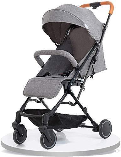 DAGCOT Cochecito cochecito de bebé puede sentarse reclinado Ultra Ligero portátil paraguas plegable de cuatro ruedas de los niños del bebé del cochecito de bebé de la carretilla (Color : Gray)